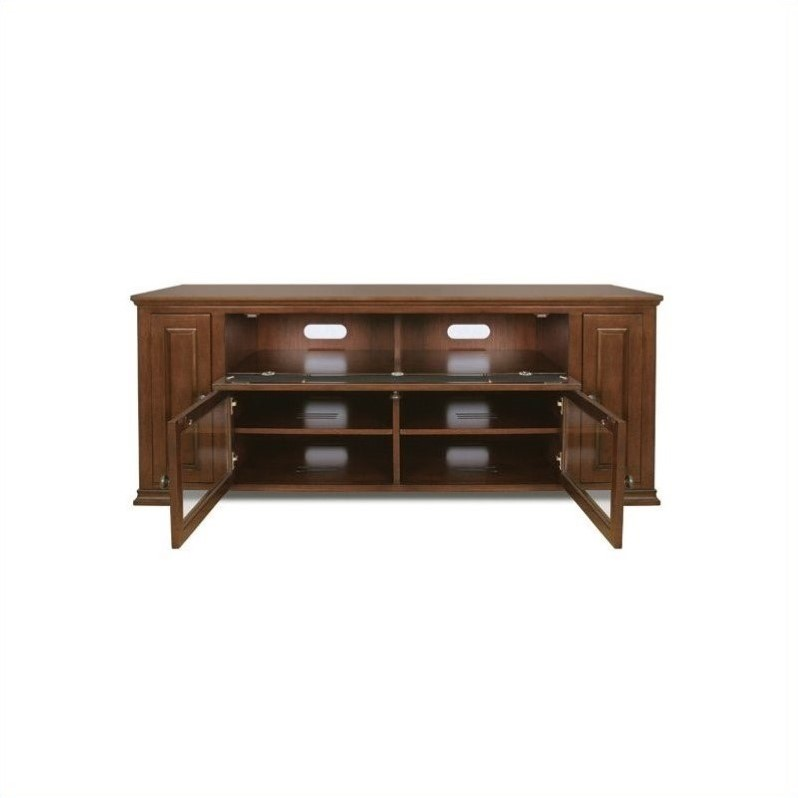 Bello Wood TV Stand with Hidden Media Storage in Espresso Finish