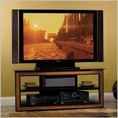 Bello Versatile LCD/Plasma Glass TV Stand in Black Finish with Cherry Accents
