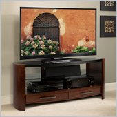 Bello Curved Wood TV Stand in Vibrant Espresso
