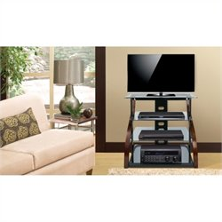 Bello Tall Design Curved Wood TV Stand in Espresso finish
