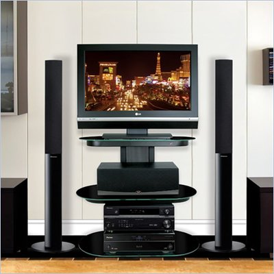 Bello Black Flat Panel Audio Video System TV Stand in Powdercoated Black Finish