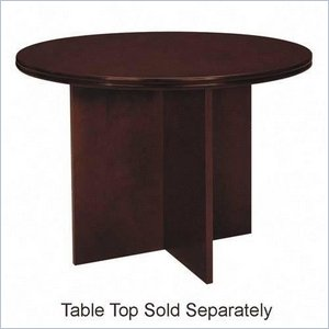 Basyx Veneer Round Conference Table Top with X-Base