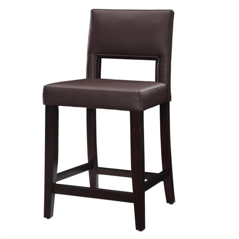 Linon Vega 24 High Counter Stool in Dark Espresso