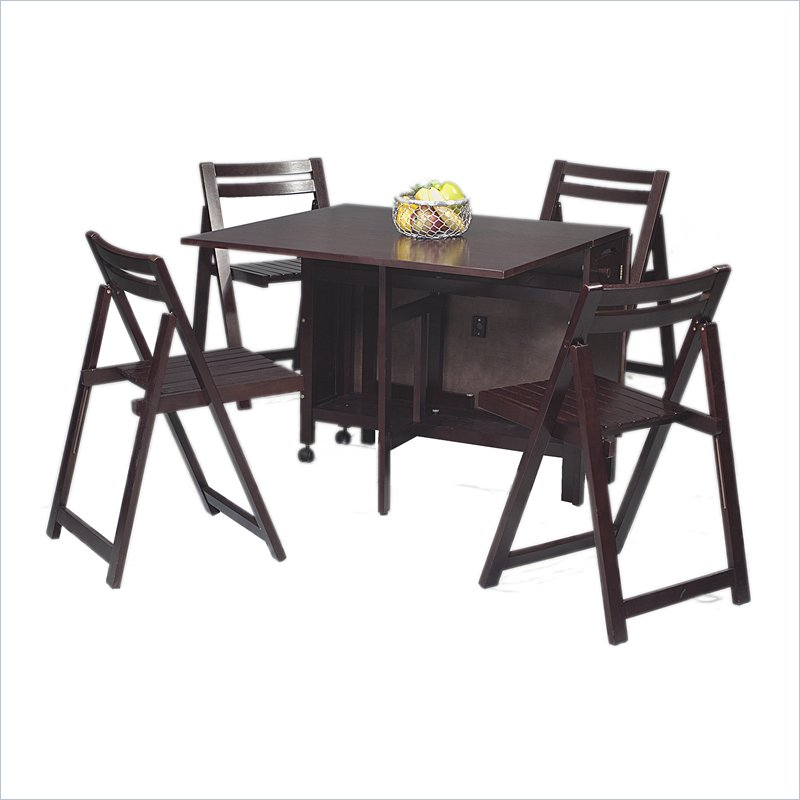 Space Saver Dining Room Table: Linon 5-Piece Space Saver Table Set
