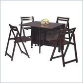 Linon 5 Piece Space Saver Dining Set in Espresso