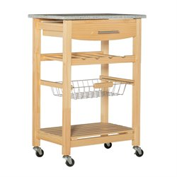 Linon Granite Top Kitchen Cart in Natural Finish
