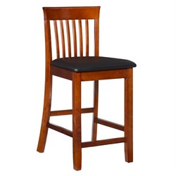 Linon Triena Collection 24H Craftsman Counter Stool in Dark Cherry