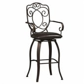 Linon Crested Back 30 High Swivel Bar Stool in Dark Brown