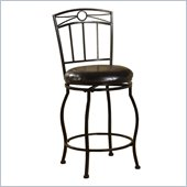 Linon Circle Top 24H Metal Counter Stool in Black