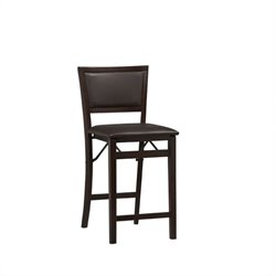 Linon Triena Pad Back Folding Counter Stool 24 in Espresso