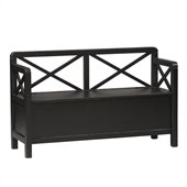 Linon Anna Storage Bench in Distressed Antique Black