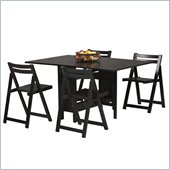 Linon Space Saver 5 Piece Table & Chair Set in Black