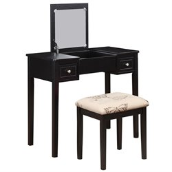 Linon Vanity Set Black with Butterfly Bench
