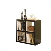 Linon Hollowcore 4 Cube Square Bookcase in Black & White
