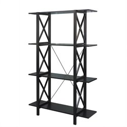 Linon Anna Double Bookcase in Antique Black finish with red rub through