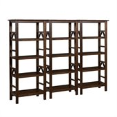 Linon Titian Wall Bookcase in Antique Tobacco