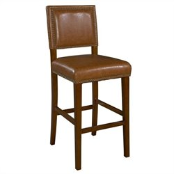 Linon Brook 30 Inch Caramel Bar Stool in Brown