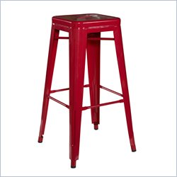 Linon Square Metal Bar Stool in Red (Set of 2)