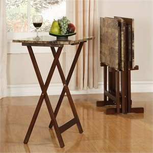 TRAY TABLE SET FAUX MARBLE -BROWN