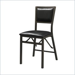 Linon Arista Padded Back Folding Chair in Black (Set of 2)