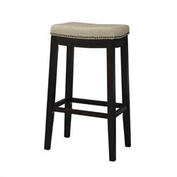 Linon Allure Fabric Upholstered Top 24 Height Stool in Dark Walnut