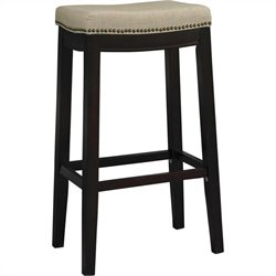 Linon Allure Fabric Upholstered Top 30 Height Stool in Dark Walnut