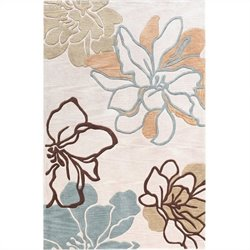 Linon Rugs Trio Rectangular Area Rug in Beige and Turquoise