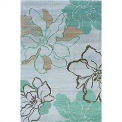 Linon Rugs Milan Rectangular Area Rug in Ivory and Turquoise