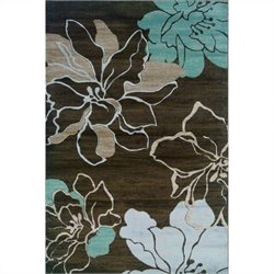 Linon Rugs Milan Flower Rectangular Area Rug in Brown and Turquoise