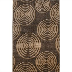 Linon Rugs Milan Circle Rectangular Area Rug in Brown and Beige