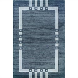 Linon Rugs Milan Rectangular Area Rug in Black and Ivory