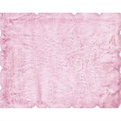 Linon Rugs Faux Sheepskin Rectangular Area Rug in Pink
