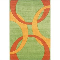 Linon Rugs Corfu Kids Area Rug in Lime and Goldenrod