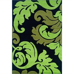 Linon Rugs Corfu Kids Area Rug in Black and Lime