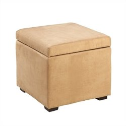 Linon Judith Ottoman with Jewelry Storage in Beige