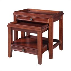 Linon Wander Nesting Tables in Cherry Finish (2 Pieces)