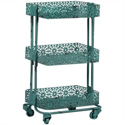 Linon Metal Three Tier Cart in Turquoise