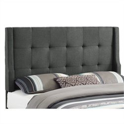 Linon Luxe Full/Queen Tufted Wingback Panel Headboard in Gray