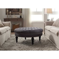 Linon Isabelle Round Ottoman in Charcoal