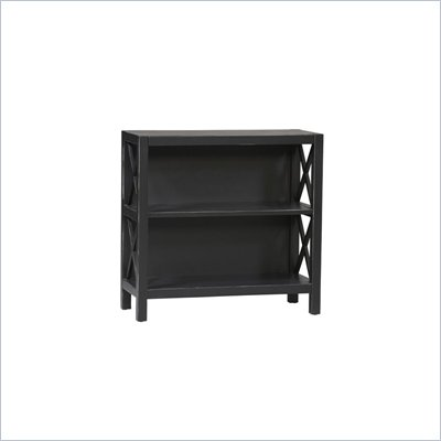 Linon Anna 2 Shelf Standard Wood Bookcase in Distressed Antique Black