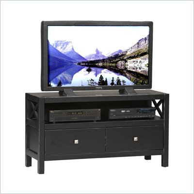 Linon Anna TV Stand in Distressed Antique Black