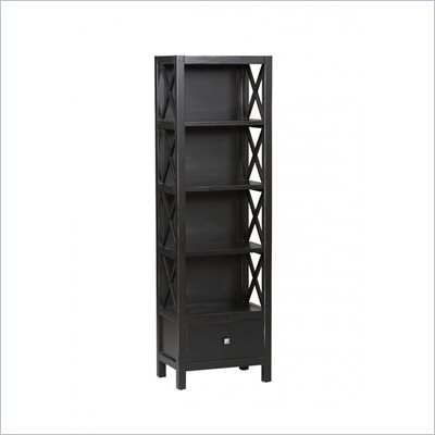 Linon Anna Tall Narrow 5 Shelf Bookcase in Distressed Antique Black