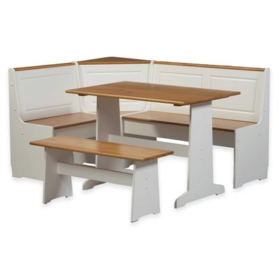 Linon Ardmore Corner Kitchen Dining Nook in White Pine