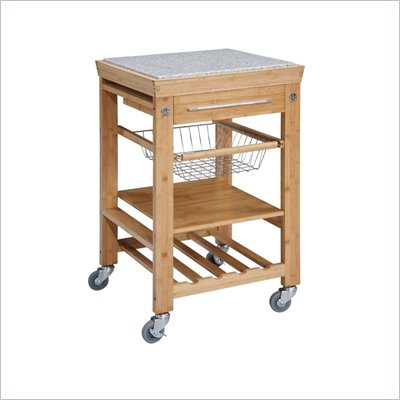 Linon Bamboo Granite Top Kitchen Cart