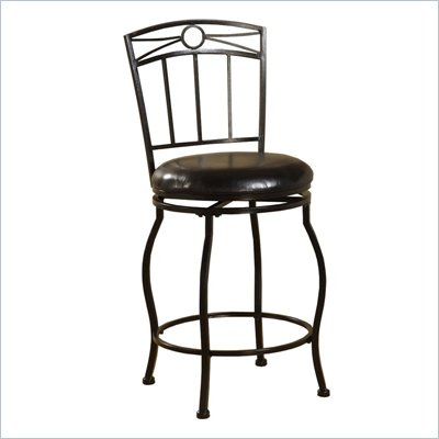 Linon Circle Top 24&quot;H Metal Counter Stool in Black
