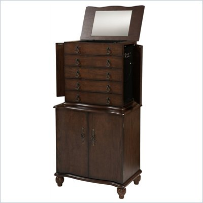 Linon Stacey Jewelry Armoire in Oak Finish