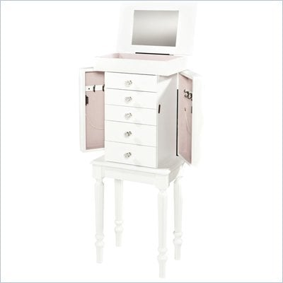 Linon Sonia Jewelry Armoire in White