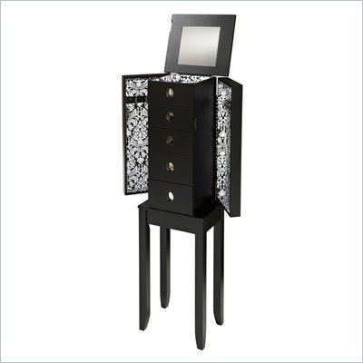 Linon Jenna Jewelry Armoire in Black