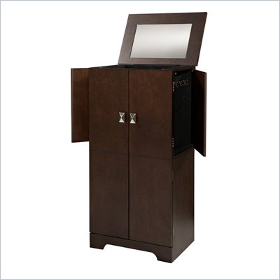 Linon Victoria Jewelry Armoire in Espresso