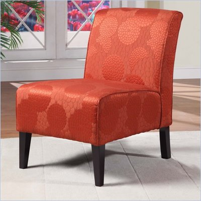 Linon Lily Slipper Chair in Matelasse Burnt Orange